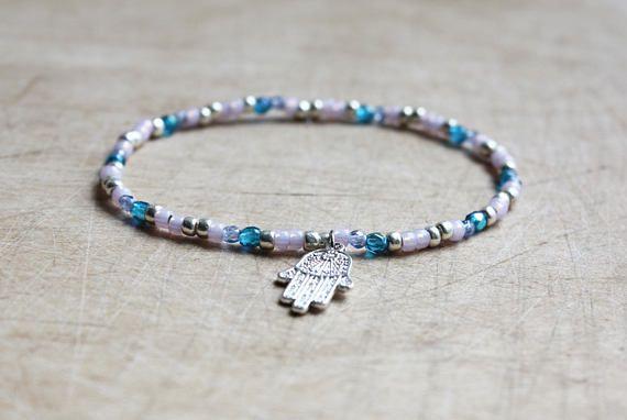 Lila blauw Aqua Hamsa armband - Boheemse juwelen - Boho sieraden - Yoga Gift - Hamsa Hand - Fatima - zomer