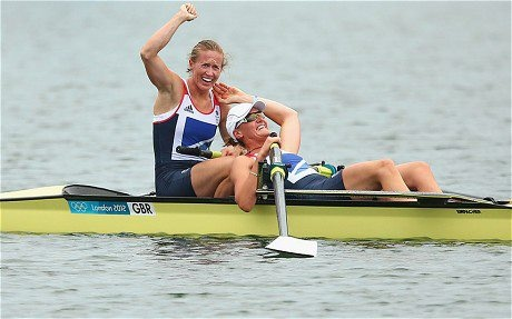 Team GB win their first gold in the Women's Pairs Rowing with Australia taking silver, and New Zealand bronze. Congratulations!