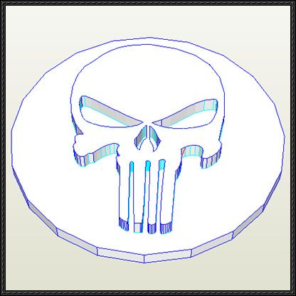 Marvel Comics - Punisher Logo Free Papercraft Download - http://www.papercraftsquare.com/marvel-comics-punisher-logo-free-papercraft-download.html