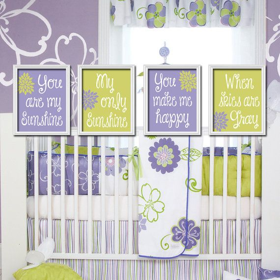 You Are My Sunshine Wall Art Decor Canvas Purple Lime Green Set Of 4 Prints Poster