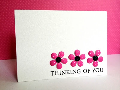 """handmade card from the Im in Haven blog ... clean and simple design ...  """"puffed"""" flowers ... luv this look! ... used hand embossing tool on a  mat ... excellent explanation on the blog ..."""