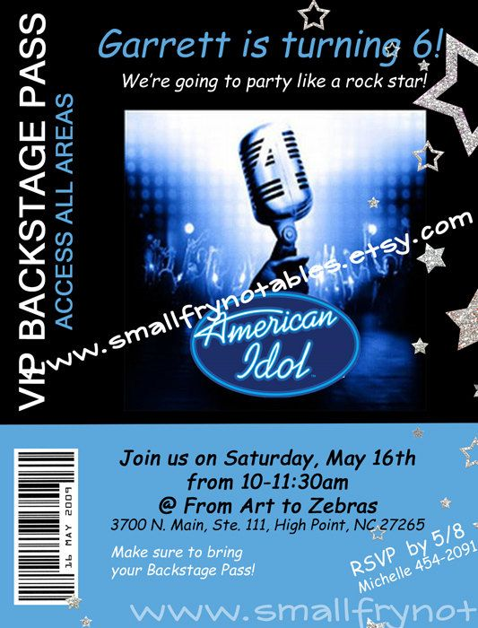 Americal idol party backstage pas custom printable invitation by americal idol party backstage pas custom printable invitation by smallfrynotablessy smallfrynotables pinterest american idol idol and toneelgroepblik Image collections