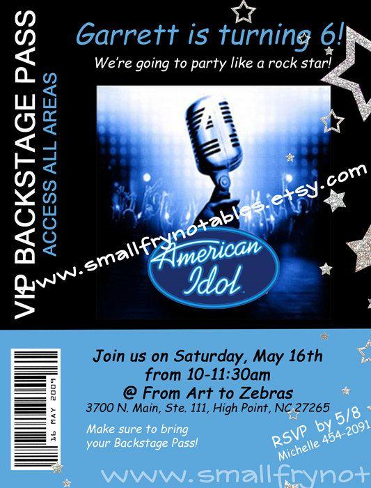 23 best idol xiv kansas city mo auditions images on pinterest americal idol party backstage pas custom printable invitation by smallfrynotablessy toneelgroepblik Images