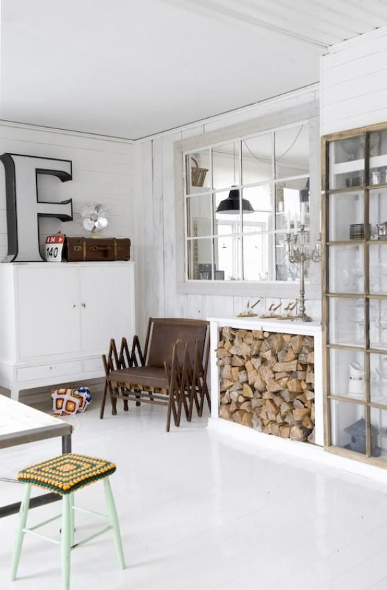Is that just an ikea type sofa table with firewood stacked under it? BRILLIANT!