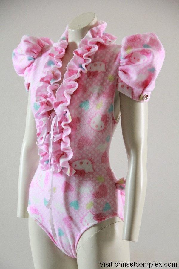 Hello Kitty Bodysuit Vest Puffs Jacket Pink Barbie Lingerie Lady Gaga Japan Kawaii Chrisst Unique Fashion SPECIAL ETSY PRICE. $150.00, via Etsy.