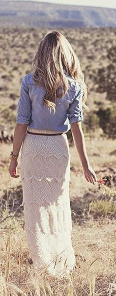 Lace Maxi Skirt & Chambray Blouse .. Cute For Fall!..... I want that skirt!