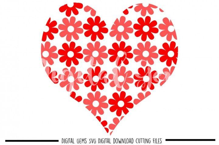 Flower Heart Svg Dxf Eps Png Files Flower Heart Eps Valentines Design