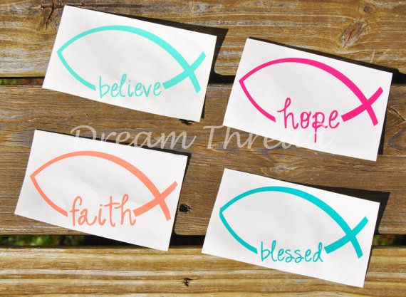 Belive Faith Hope Blessed Ichthys Decal car decal by DreamThread