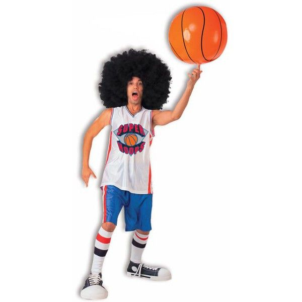 Our adult super hoops basketball player costume makes a great 1970's costume idea. This complete outfit makes a great funny Halloween costume or use it to be like the Harlem Globetrotters. - Large meg