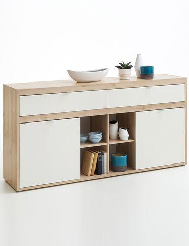 Buffet «Atlanta» d'un design sobre et aux couleurs nuancées. Avec 2 parties armoire avec rayon réglable, 2 tiroirs et 4