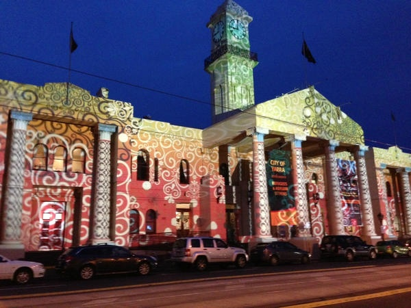 Richmond Town Hall 2012 Christmas Projections by Nick Azidis.    http://www.yarracity.vic.gov.au/hot-topics/richmond-town-hall-to-light-up-the-night/