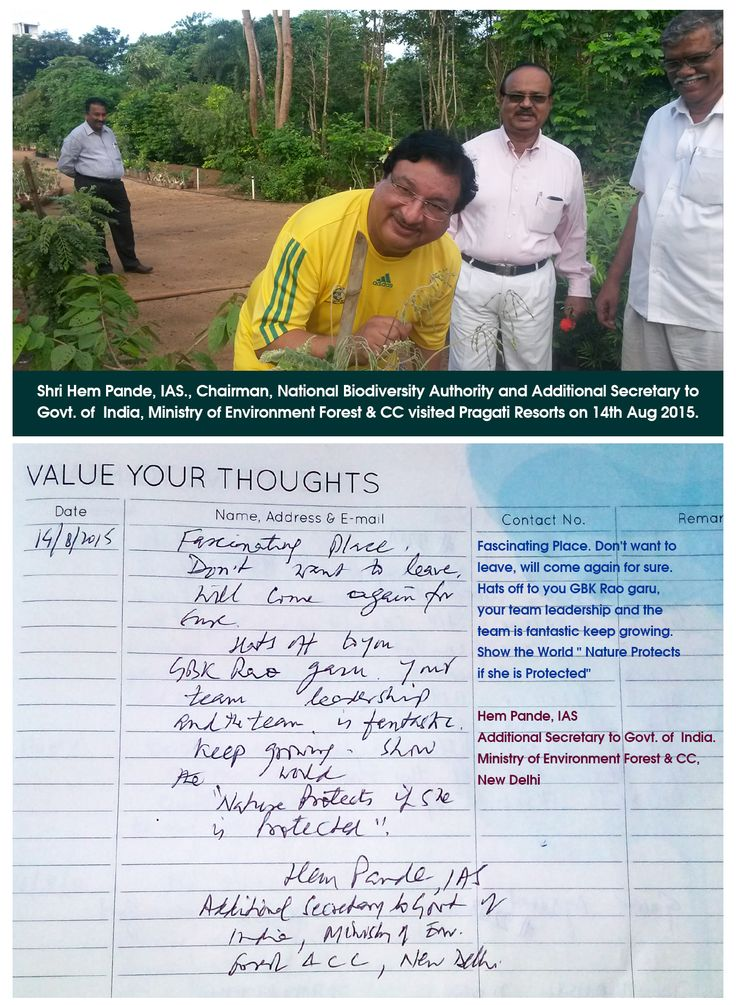 Shri Hem Pande, IAS., Chairman , National Biodiversity Authority visited Pragati Resorts. Here's his thought about ‪#‎Pragati‬