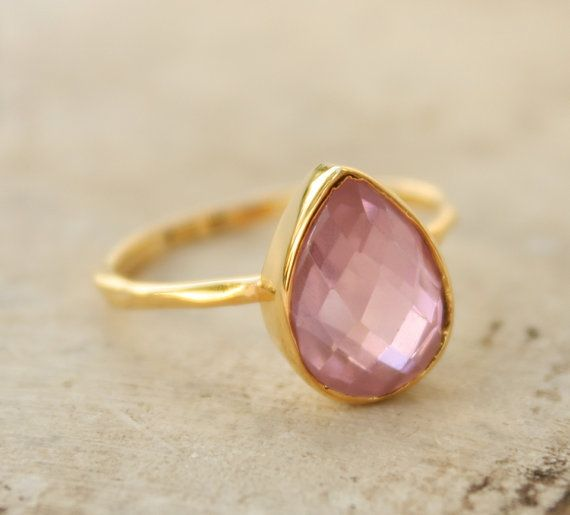 Pink sapphire ring made in Gold plated silver.