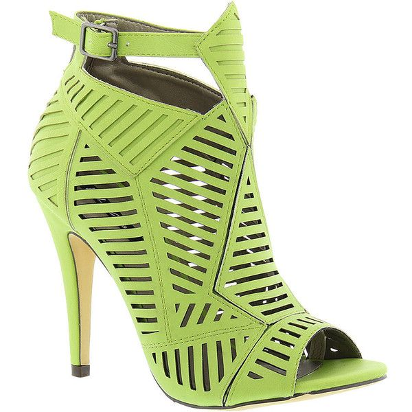 Michael Antonio Jyst (£42) ❤ liked on Polyvore featuring shoes, sandals, heels, lime, high heel sandals, lime green shoes, ankle strap high heel sandals, padded sandals and high heel ankle strap shoes
