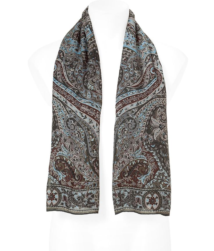 Forest/Blue Paisley Wool/Silk Scarf