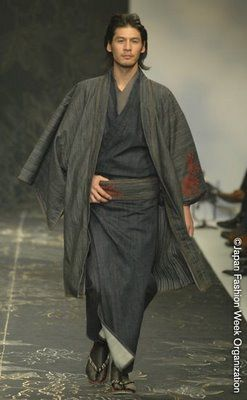 Men's denim kimono by Jotaro Saito Style, simplicity and a bit of sexy. Holy smokes... he's good looking.