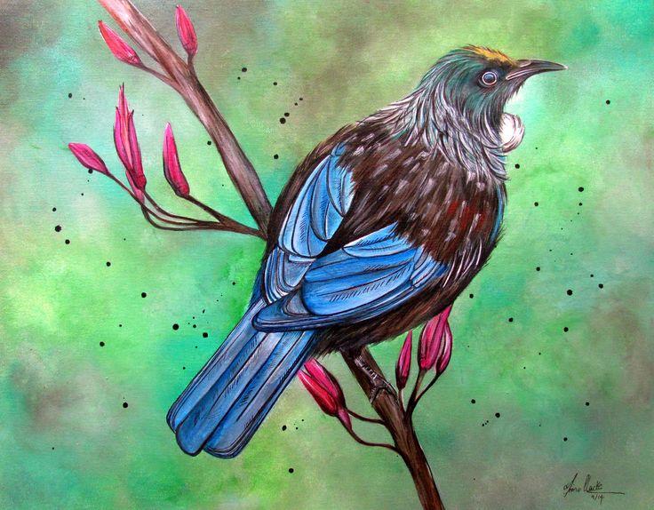 Tui bird painting on Canvas by www.fiona-clarke.com