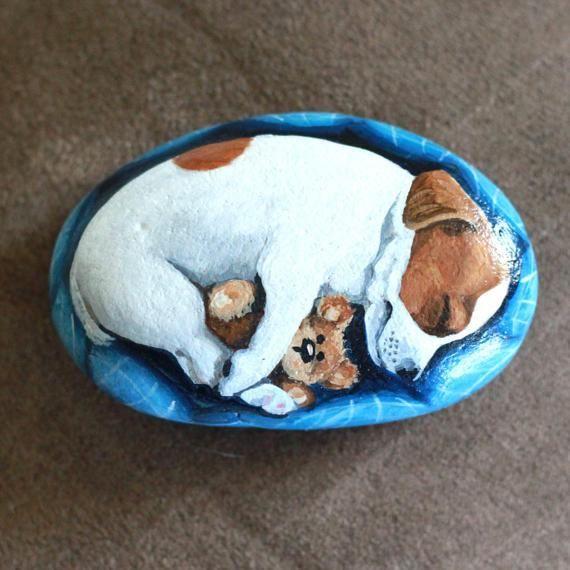 Jack Russell perro pintado rock mano pintado de cachorro de