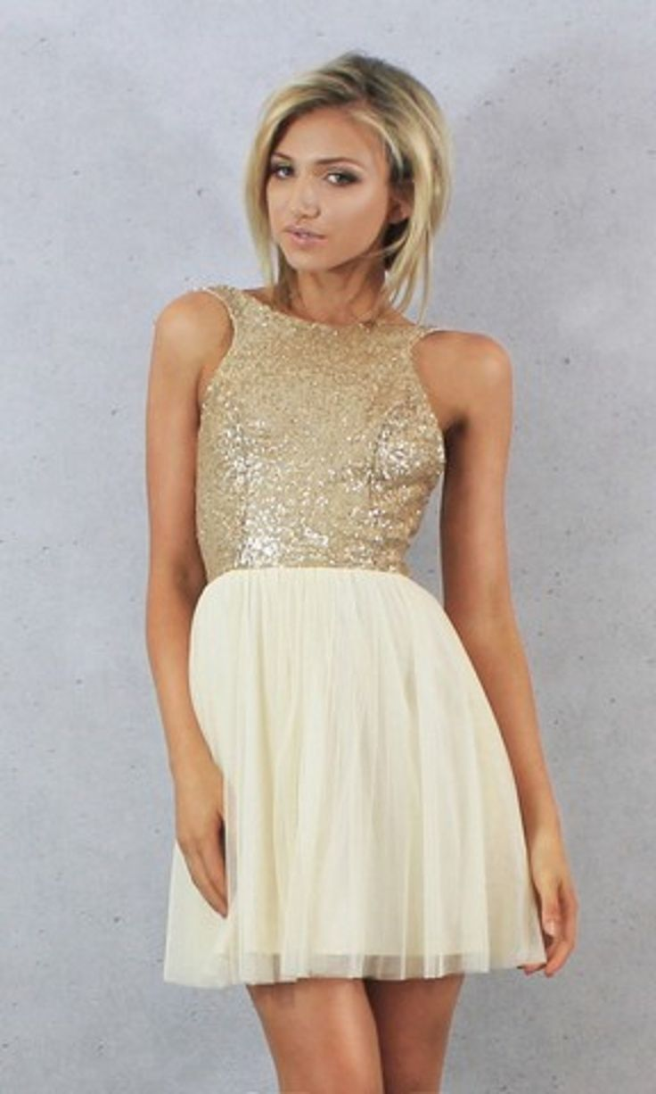 Charmming Short Chiffon Champagne Gold Sequin Bridesmaid Dress - Uniqistic.com
