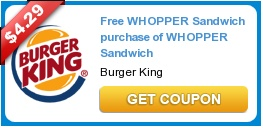 **HOT COUPON**  Free WHOPPER Sandwich when you purchase of WHOPPER Sandwich!!