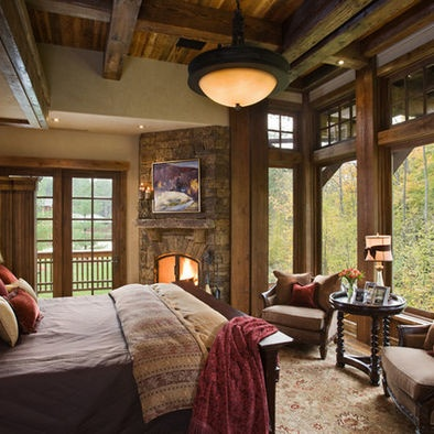 loft bedroom with fireplace