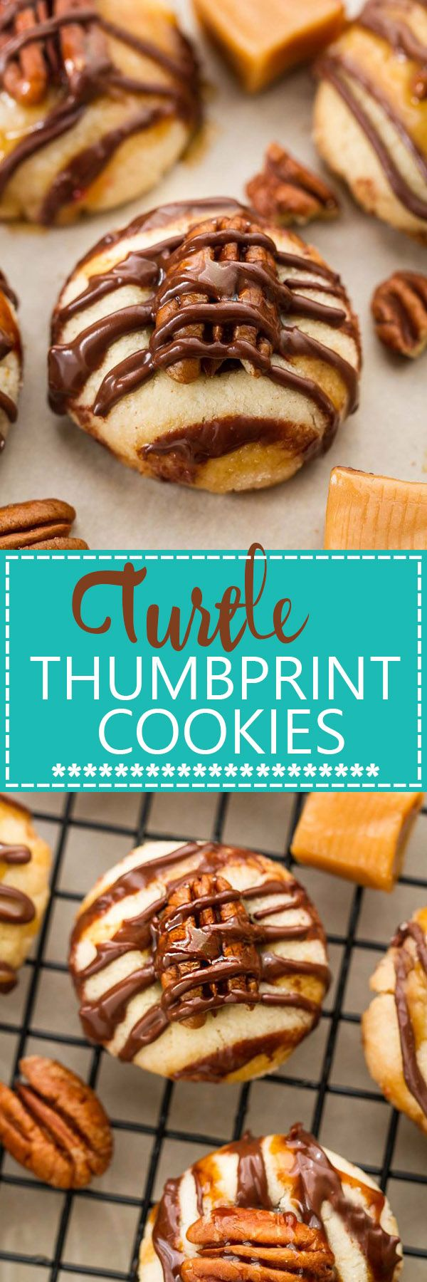 Pecan Turtle Shortbread Thumbprint Cookies make the perfect holiday treat for your Christmas cookie platter. Best of all, they're so easy to make and are full of creamy caramel, chocolate and a crunchy pecan center.