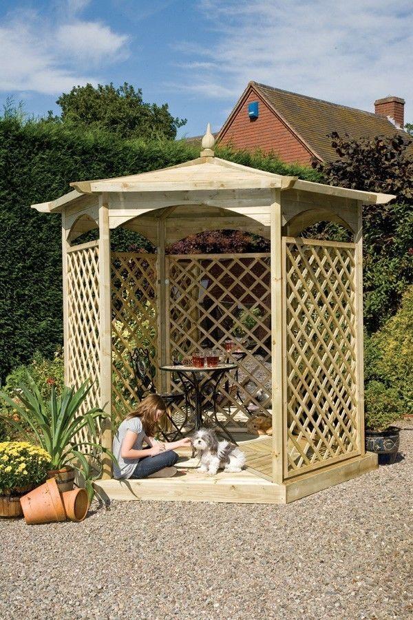 Garden Wooden Gazebo Outdoor Pavilion Shelter Shade Structure Lattice Pannels #GardenWoodenGazebo