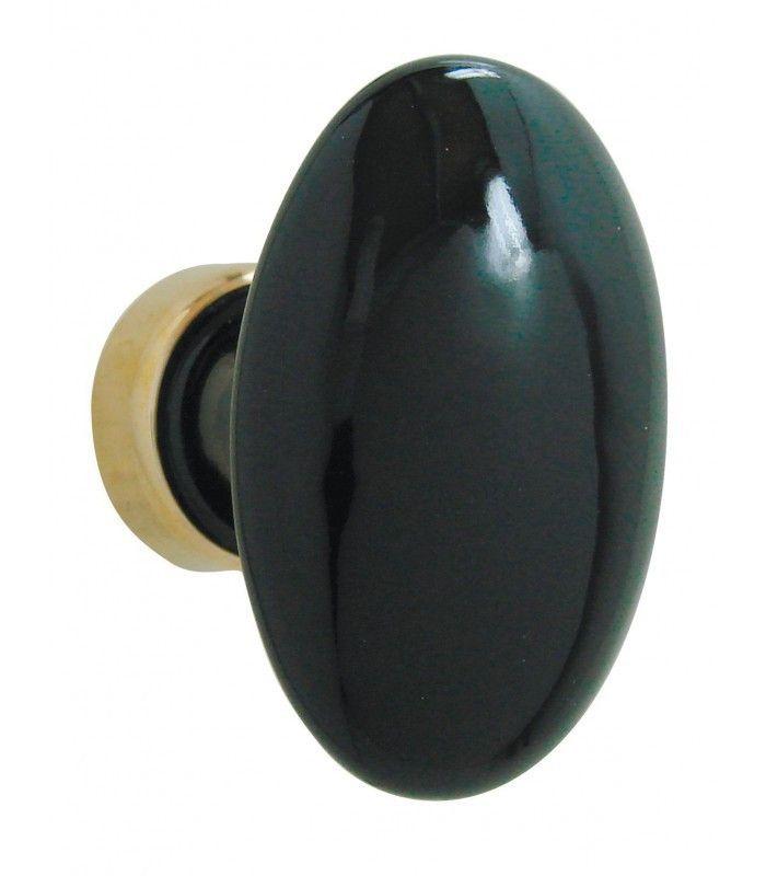 Bouton Simple, Ovale Noir Brillant En Porcelaine. Poignées De PortePoignée  ...