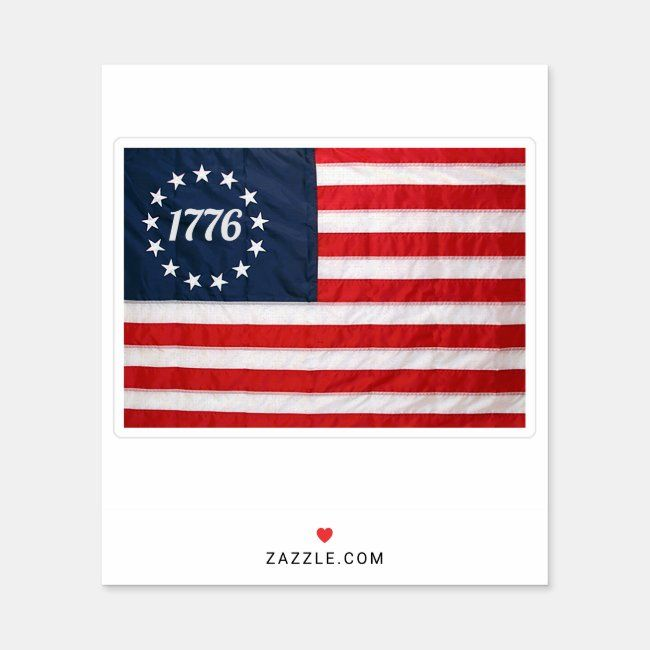 American Flag 1776 13 Stars And 13 Stripes Sticker Zazzle Com In 2020 American Flag Design Your Own Stickers Sticker Set