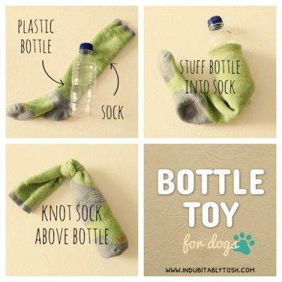 DIY dog toys - add something rattley to make it more interesting (and use a…