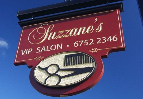 Suzzane's VIP Salon Business Sign. This sign was made for a hair salon in Moree, New South Wales. The lettering is chisel-carved & gilded with 23 Karat Gold Leaf. The image background is sandblasted to give it a rough texture. Have a look at our website to see lots more of our work.