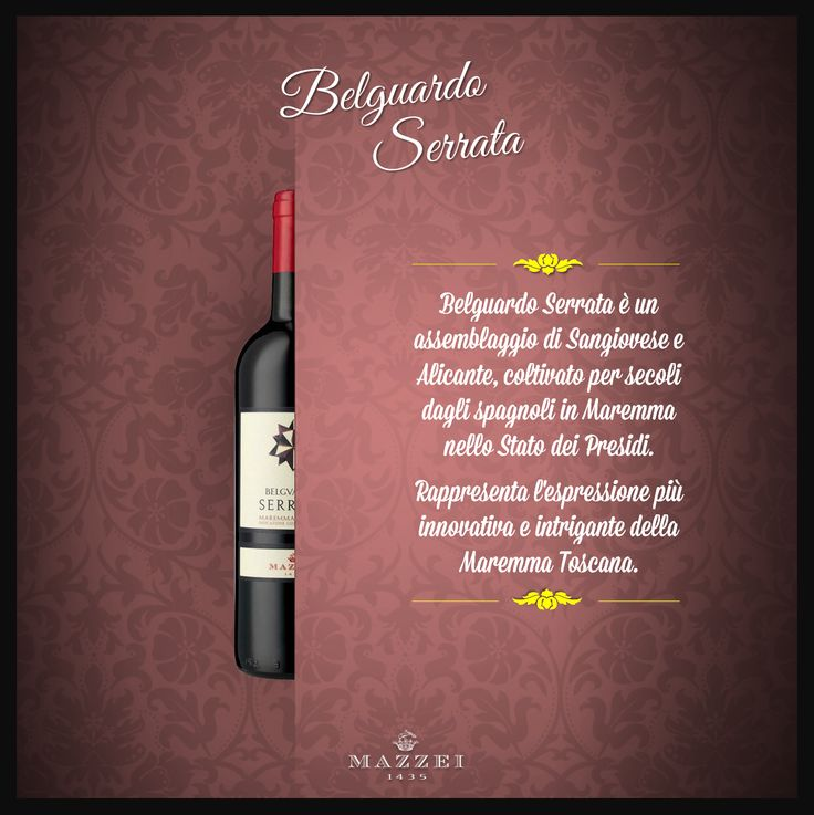 SERRATA - Serrata is a blend of Sangiovese and Alicante, cultivated for centuries by the Spanish in Maremma in the State of the Garrisons. It is the most innovative and intriguing wine of Maremma Toscana. @marchesimazzei #winegallery #marchesimazzei #belguardo #wine #tuscany #winelovers