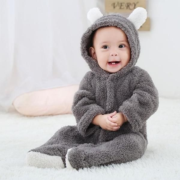Baby Toddler Boy Fashion Romper Spring Long Sleeve Leopard Hooded Jumpsuit