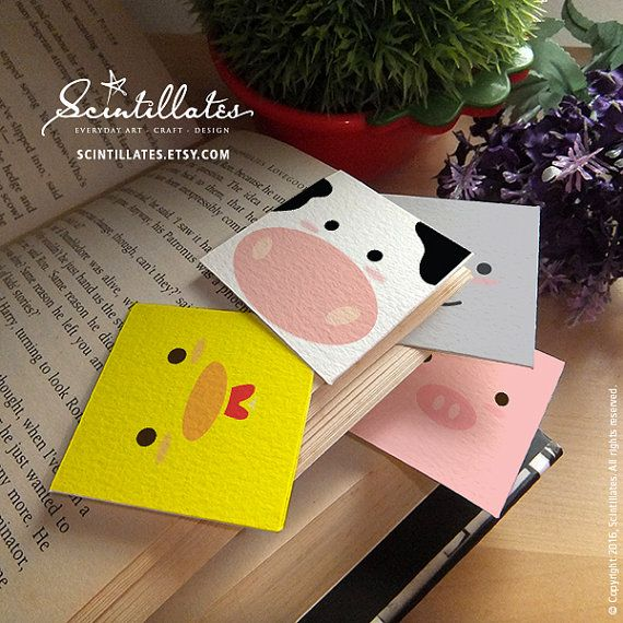 cow corner bookmarks square animals corner bookmark chicken cow pig koala 1367