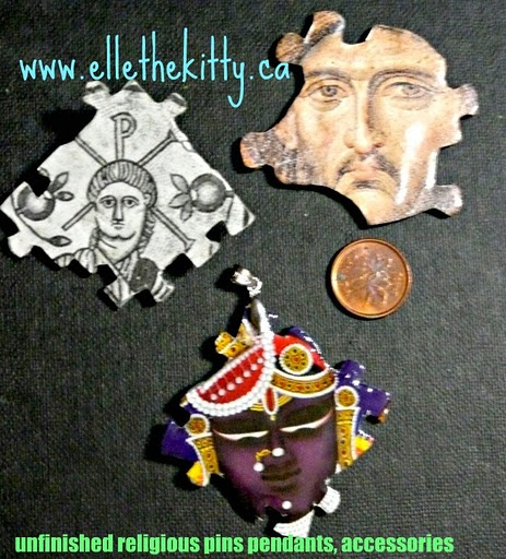 Handmade recycled media jewelry  First two were made from recycled vintage books, Krishna was made from a recycled hindu calander.  Items are one of a kind and can be ordered as pins, magnets, pendants, zipper pulls, shoe charms and other things. Support indie art  www.ellethekitty.ca