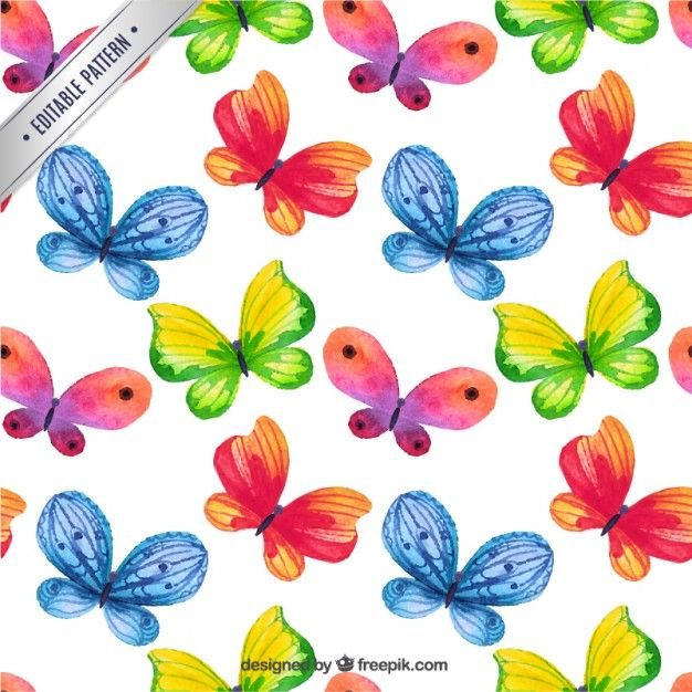 Free vector Hand painted butterflies pattern #413