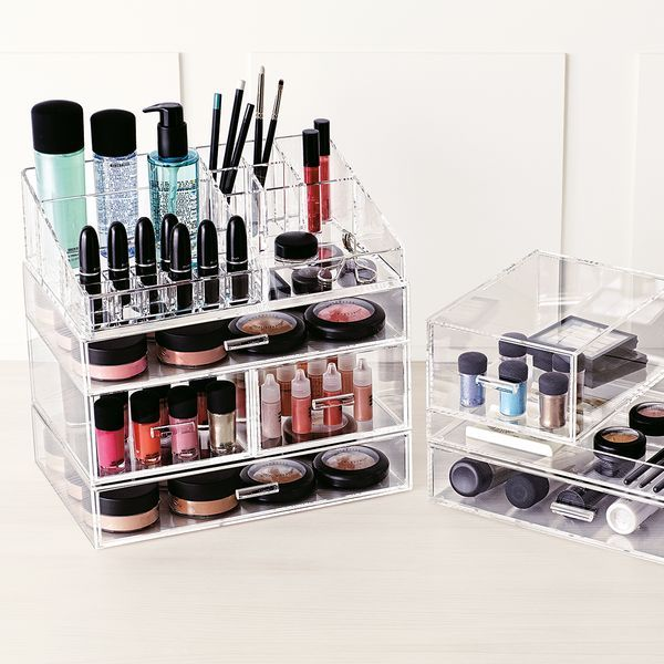 Our Large Acrylic Makeup Organizer can hold your entire makeup collection, and can be stacked when the collection grows!