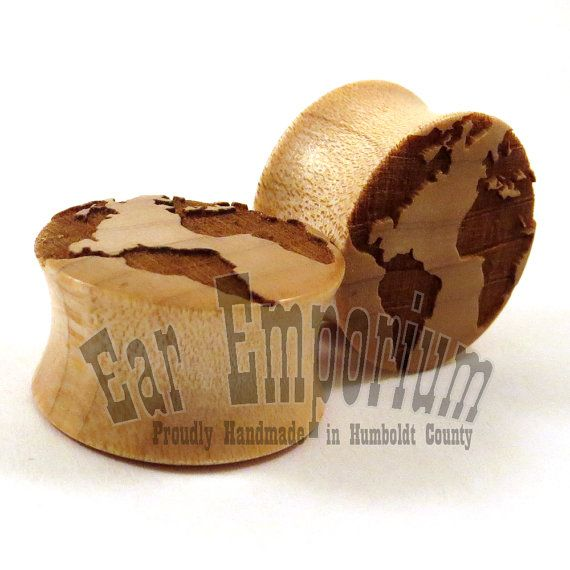 "Globe Maple Wooden Plugs 2g (6.5mm) 0g (8mm) 00g (9mm) (10mm) 7/16"" (11mm) 1/2"" (13mm) 9/16"" (14mm) 5/8"" (16mm) 3/4"" 7/8"" Earth Ear Gauges"