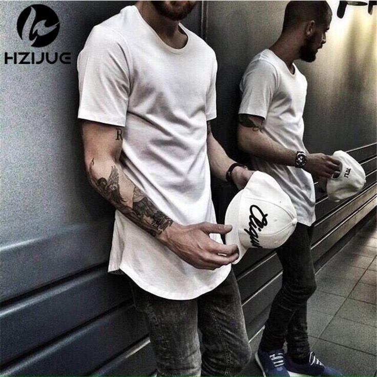 2017 s/s men extended kanye  t-shirt cotton swag mens t shirts skateboard tshirt solid hip hop T shirt men's tees tops