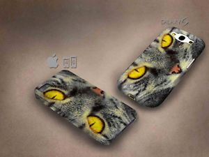 Cat 3D case, full image, for iphone 4/5/5c & Galaxy S3/S4