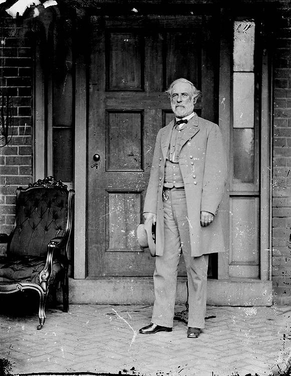 Probably the most famous photograph of General Robert E. Lee.  This photograph was taken just days after his surrender at Appomattox by the famous Matthew Brady behind General Lee's home in Richmond, VA.