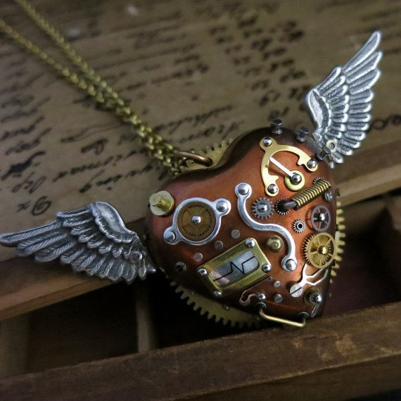 awesome Steampunk pendant, Steam punk jewelry, Mechanical flying heart, Industrial style...