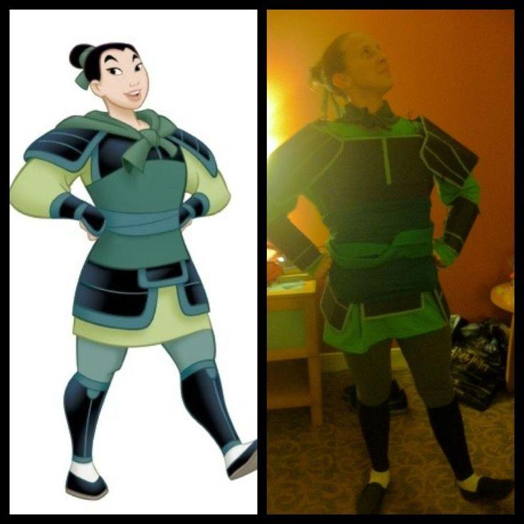 "my homemade Disney Mulan ""Ping"" halloween costume with cardboard armor"