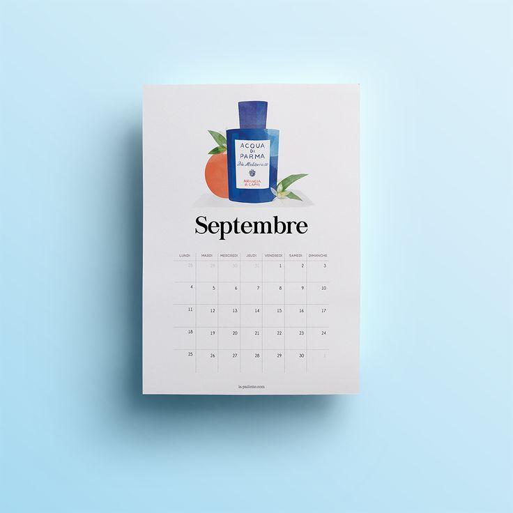 blog rennes illustratrice illustration beauté packagings produits parfum féminin claire la paillette acqua di parma fond ecran calendrier septembre 2017 print