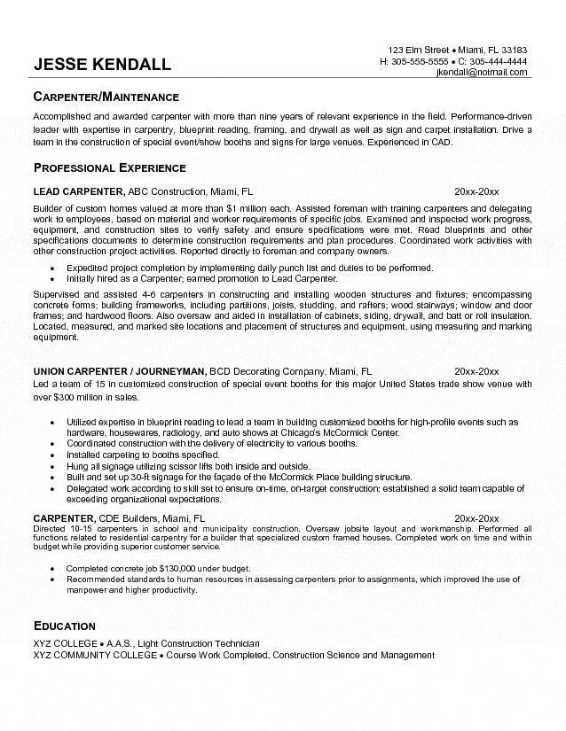 9 best guy things images on Pinterest Sample resume, Cover - construction superintendent resume templates