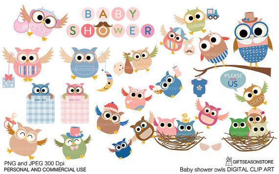 Baby douche uil digitale illustraties voor door Giftseasonstore