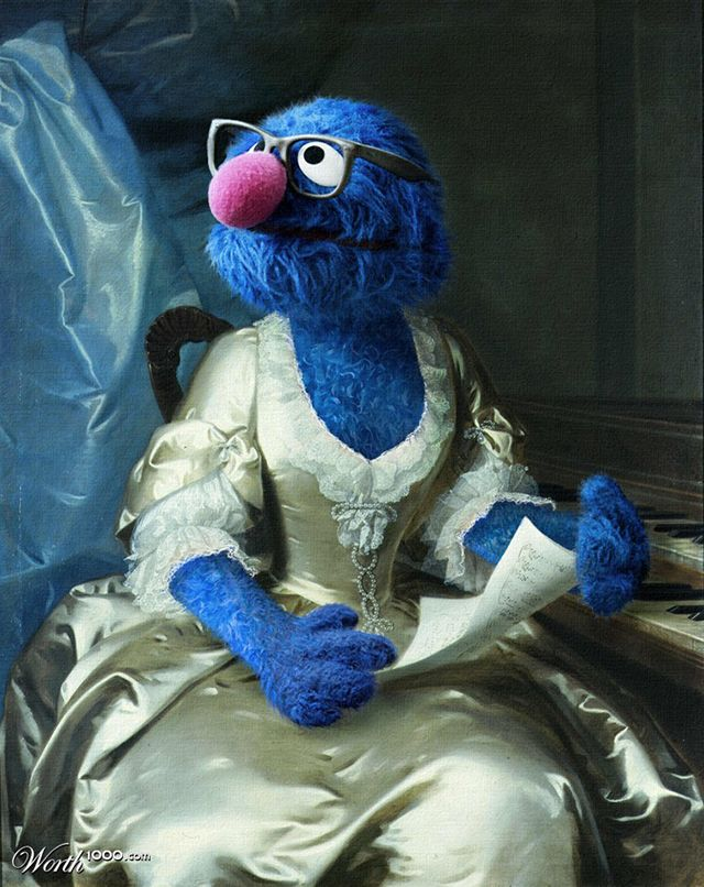 """""""Dr. Grover in drag"""" by sugarcane Worth1000 ran a """"Sesame Street Ren"""" (part 1 and 2) photo effects contest this past July that challenged their community members to recreate classic Renaissance pai..."""