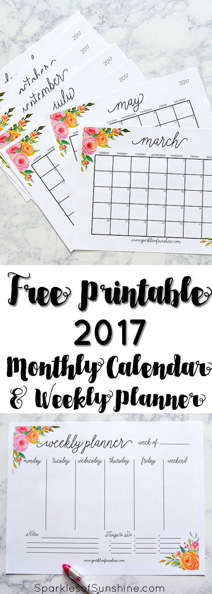 Free Printable 2017 Monthly Calendar and Weekly Planner ...