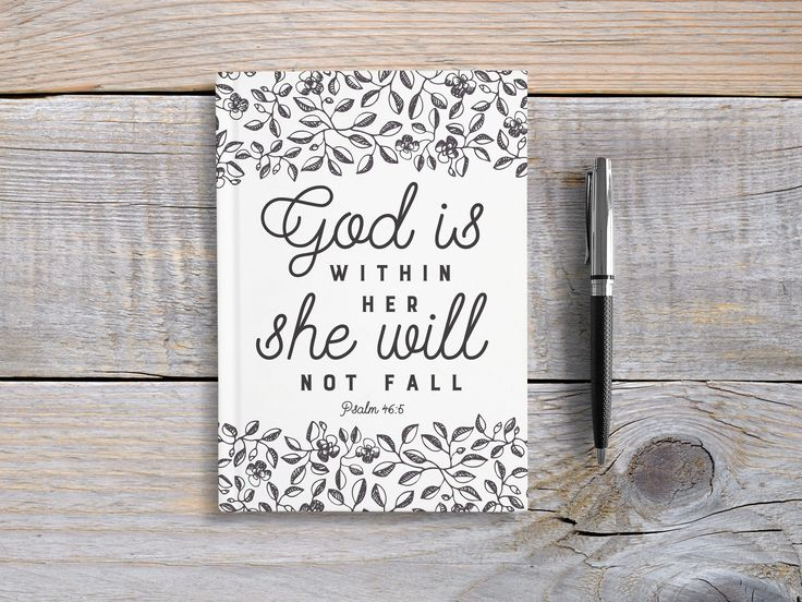 Writing Journal, Personalized Notebook, hardcover sketchbook, scripture, prayer journal, Blank Lined - God is within her she will not fall