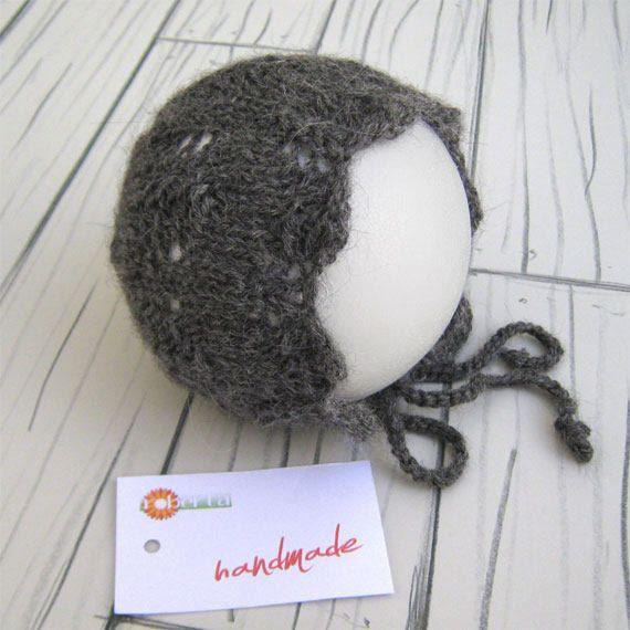 Newborn bonnet newborn photo props handmade wool accessori